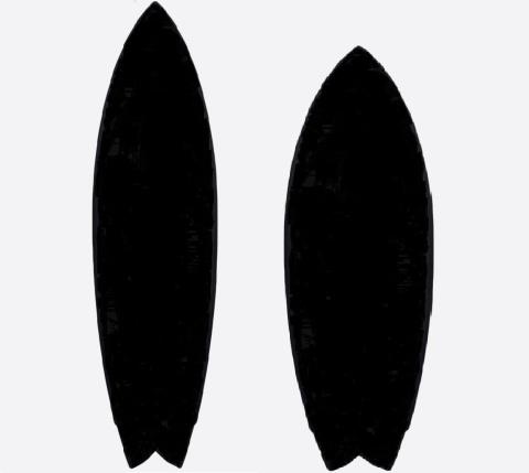 サーフボードの容量は同じだが形が違う比較の図形